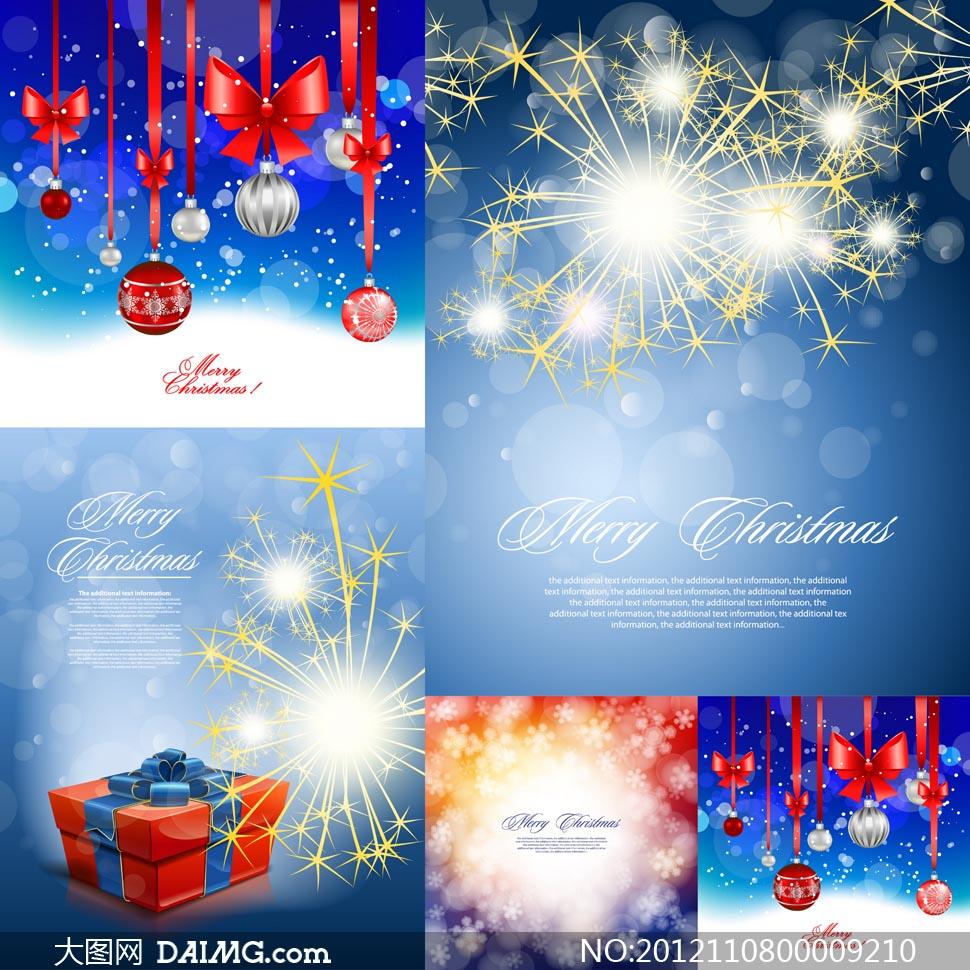 圣诞节梦幻烟花背景矢量素材