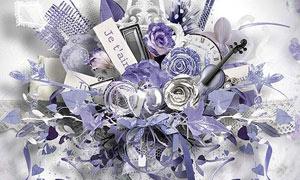 紫色花朵和丝带等装饰图片素材