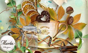 咖啡杯和玻璃瓶等装饰图片素材