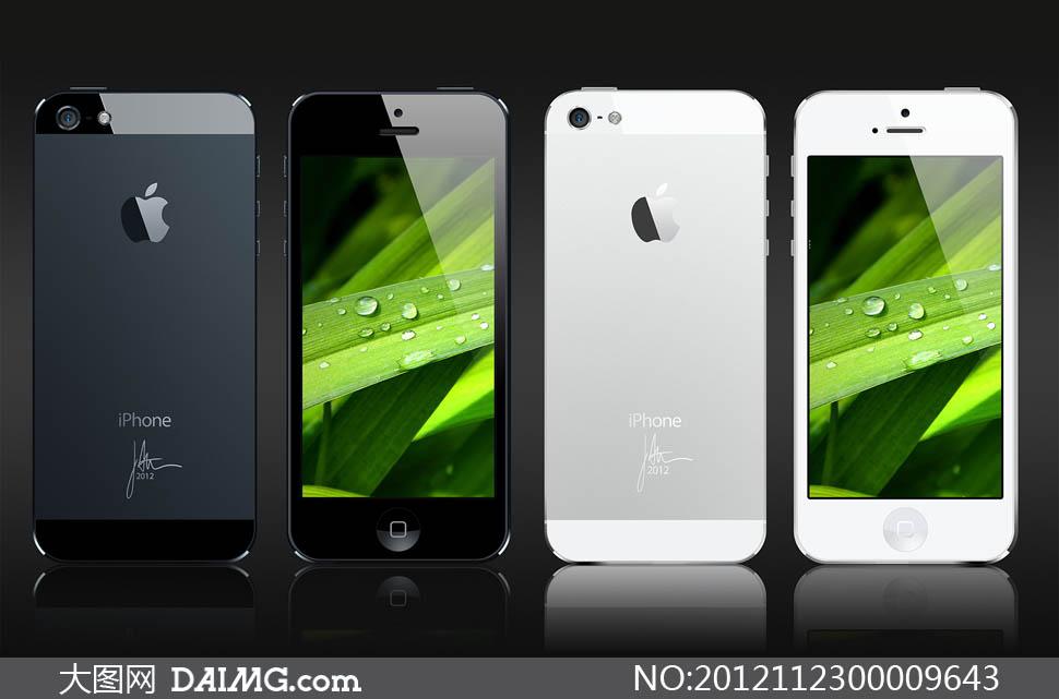 iphone5黑白正反面手机ui设计psd素材图片