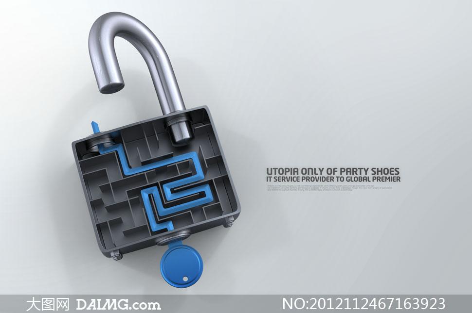 锁内部结构剖面图创意PSD分层素材
