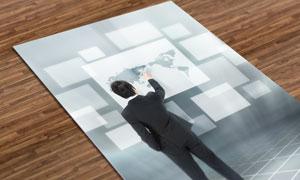 世界地图人物创意设计PSD分层素材