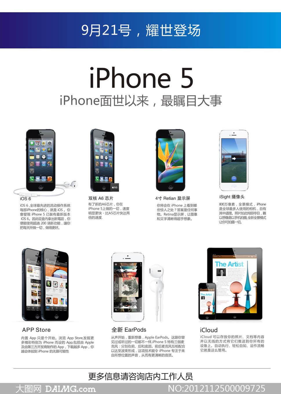 iphone5新功能介绍页面设计矢量素材