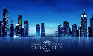 城市夜空与建筑物夜景PSD分层素材