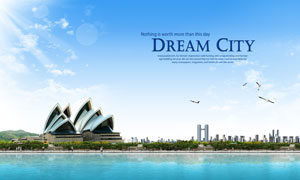 水边的悉尼歌剧院创意PSD分层素材