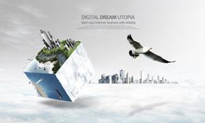 翱翔的海鸥与建筑创意PSD分层素材