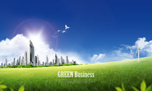 蓝天白云草地与建筑物PSD分层素材