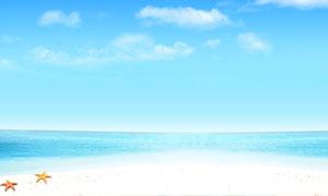 蓝天下的海边沙滩摄影图片