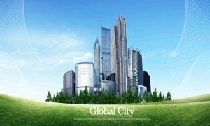 草地建筑物与绿化树林PSD分层素材