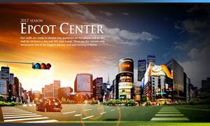 繁华都市与路口交通灯PSD分层素材