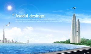 湖边的道路与城市建筑PSD分层素材