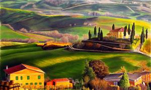 山村田园景色油画设计图片素材