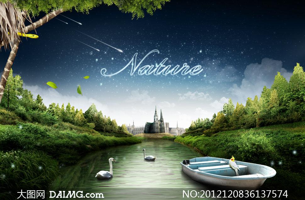 河里的木船与天鹅风景psd分层素材