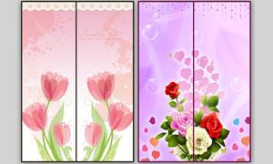 夢幻時尚花朵移門圖案PSD源文件