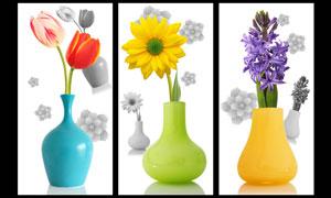 唯美花瓶无框画移门图案PSD素材