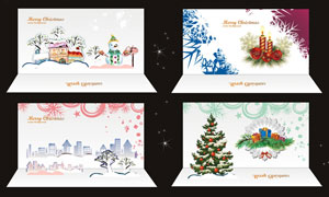 圣诞节卡通贺卡设计矢量素材