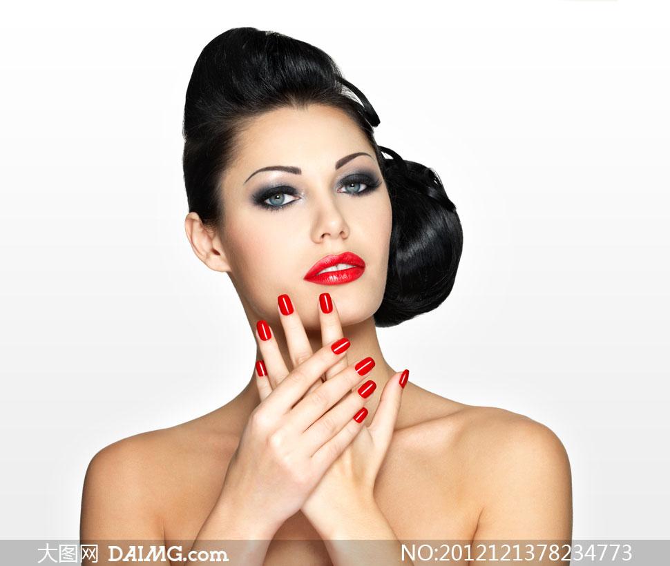 浓妆红唇黑发美女人物摄影高清图片