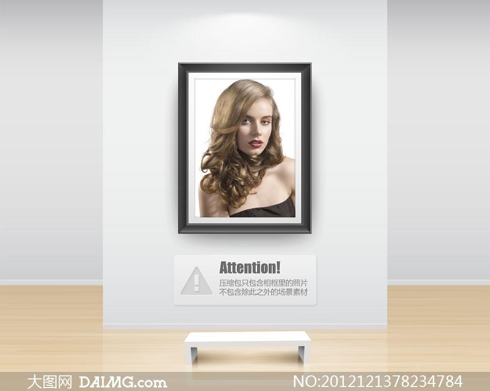 披肩卷发美女模特人物摄影高清图片