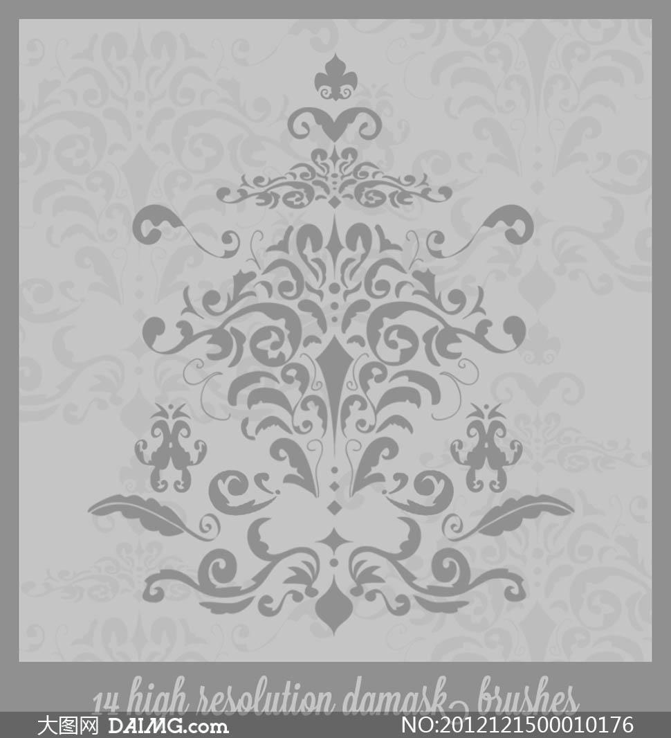 时尚欧式花纹笔刷 - 大图网设计素材下载