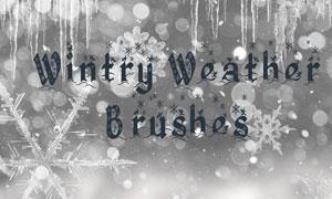冬季雪花和棱柱笔刷