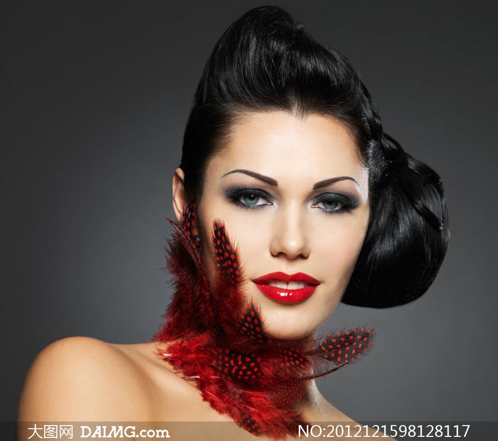 美女女人女性发型头发盘发盘头发髻红唇化妆妆容眼妆图片