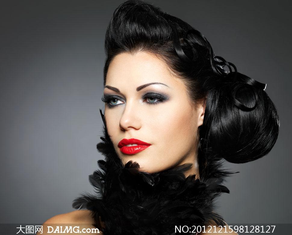 浓妆红唇盘头美女人物摄影高清图片