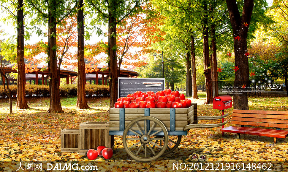 树林里小车上的红苹果psd分层素材