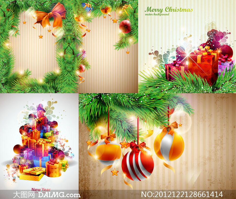 松枝边框等圣诞节主题矢量素材