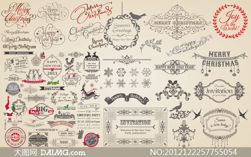 关键词: 矢量素材矢量图设计素材圣诞节花纹花边边框圆形小鸟艺术字