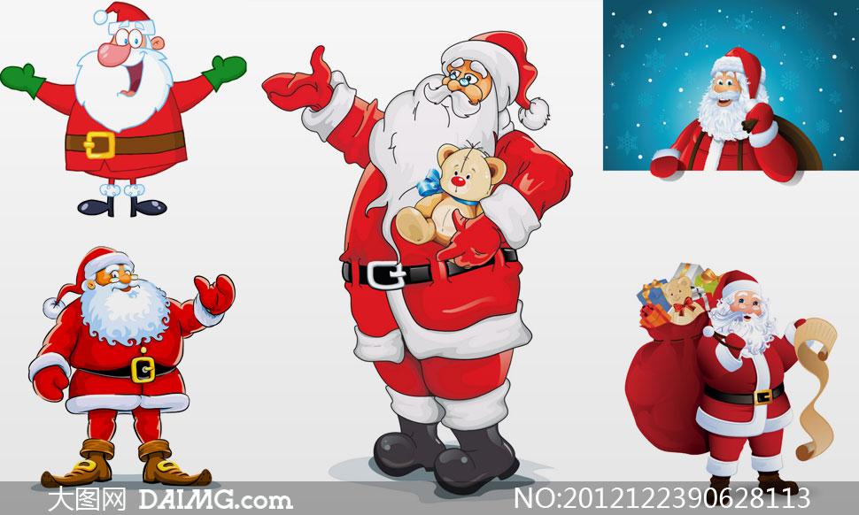 可爱的卡通圣诞老人矢量素材