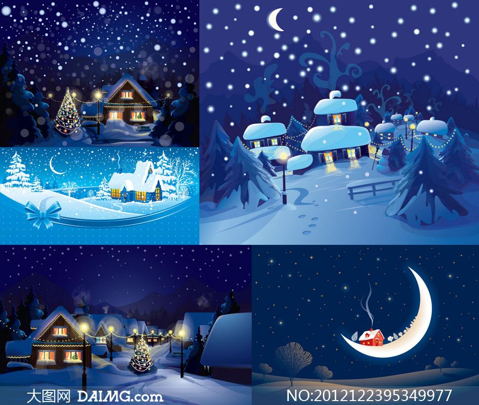世界最漂亮的风景囹�a_冬天夜晚房子卡通风景矢量素材