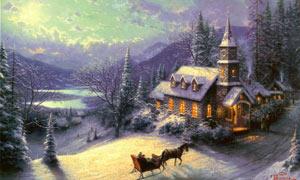 冬季行驶中的马车油画设计图片