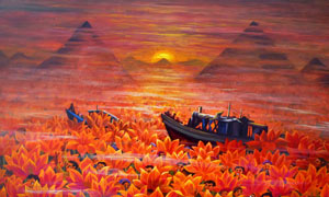 梦境中的荷花池油画设计图片