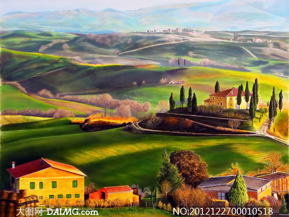 画风景景色欧美油画油画作品挂画绘画书法文化艺术设计高清图片素材