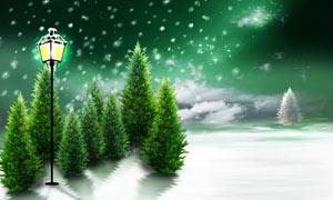 圣诞节雪景广告背景设计图片