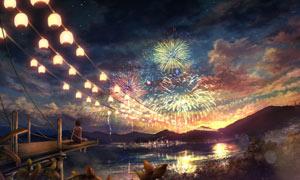 坐在桥头看烟花的少女油画设计