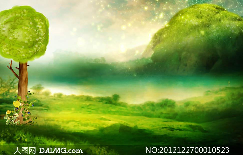 夢幻手繪風景背景圖設計圖片
