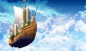 诺亚方舟创意飞船设计PSD分层素材