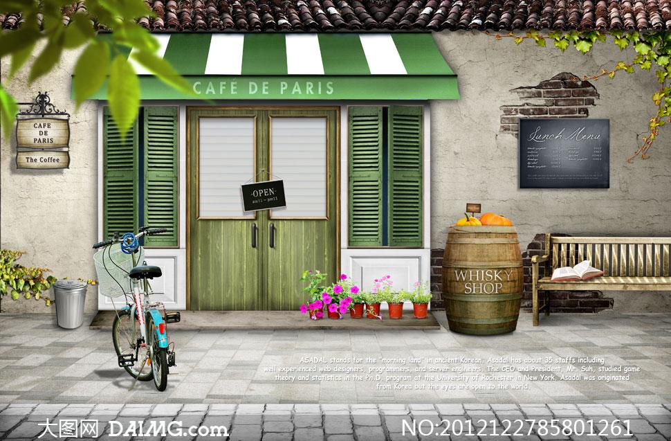 生态咖啡馆手绘图