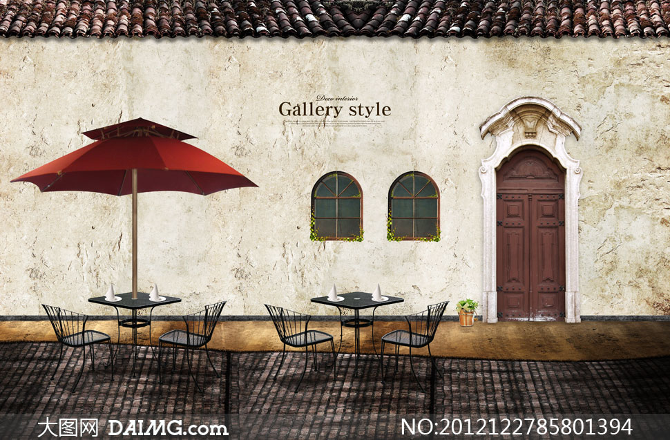 欧式欧风房门木门窗户露天铺砖地面复古怀旧咖啡馆