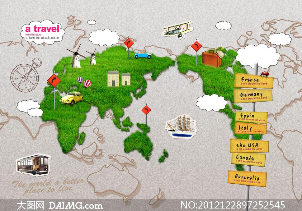 o2云朵手绘世界地图