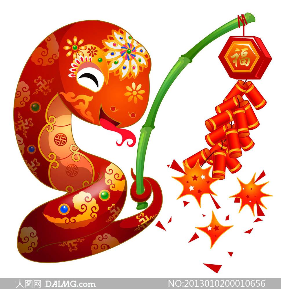 卡通蛇手绘蛇可爱蛇动漫可爱花纹鞭炮祥云蛇年素材