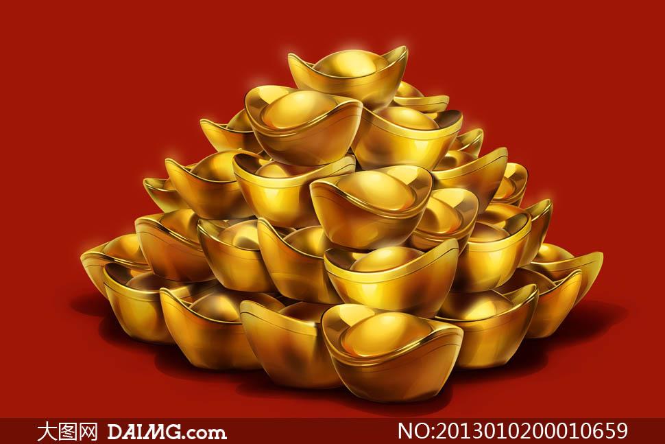 喜庆的金元宝设计图片素材