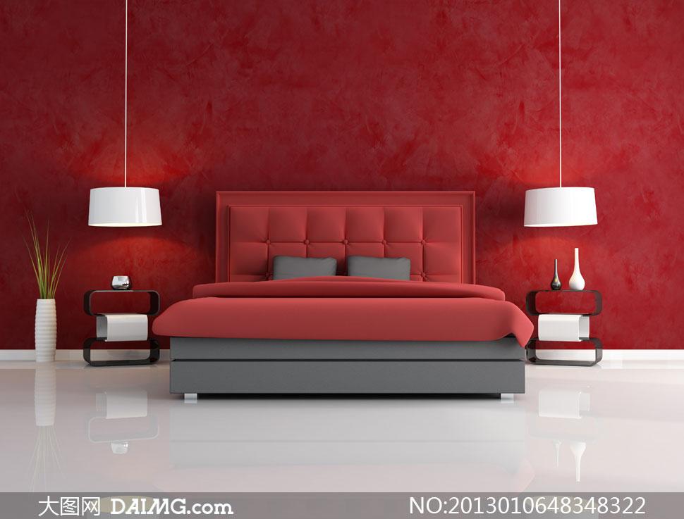 室内墙壁大床吊灯摆设摄影高清图片