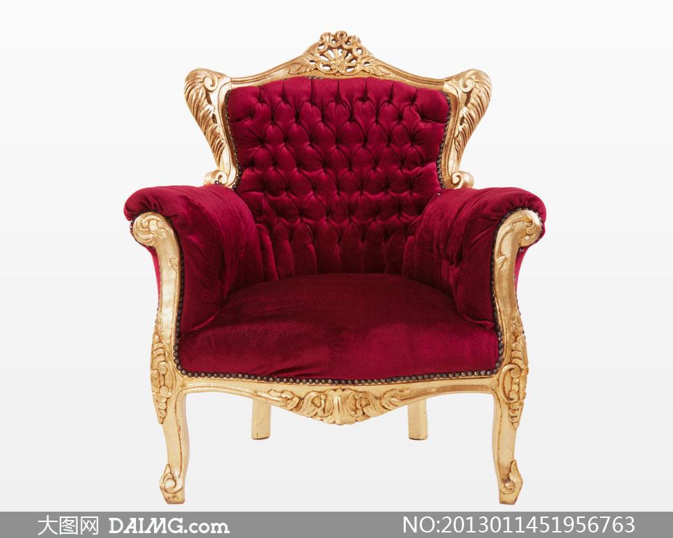 金色雕花欧式古典沙发摄影高清图片