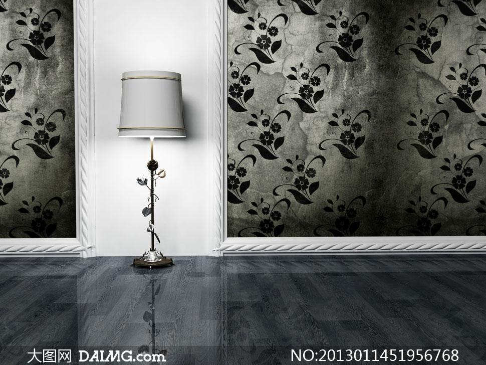 家具陈设摆设陈列白色落地灯台灯木地板房间欧式古典欧风灯具复古怀旧