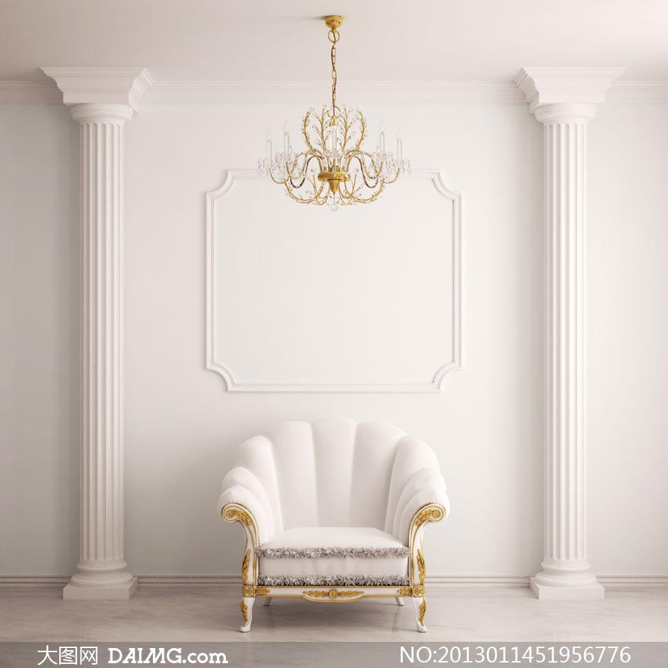 室内欧式古典廊柱沙发摄影高清图片