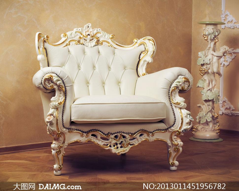 室内白色欧式古典沙发摄影高清图片