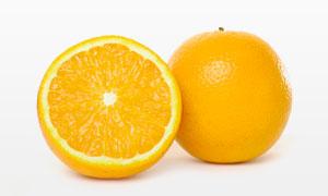 完整的与切开橙子特写摄影高清图片