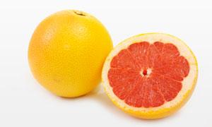 葡萄柚与切面近景特写摄影高清图片